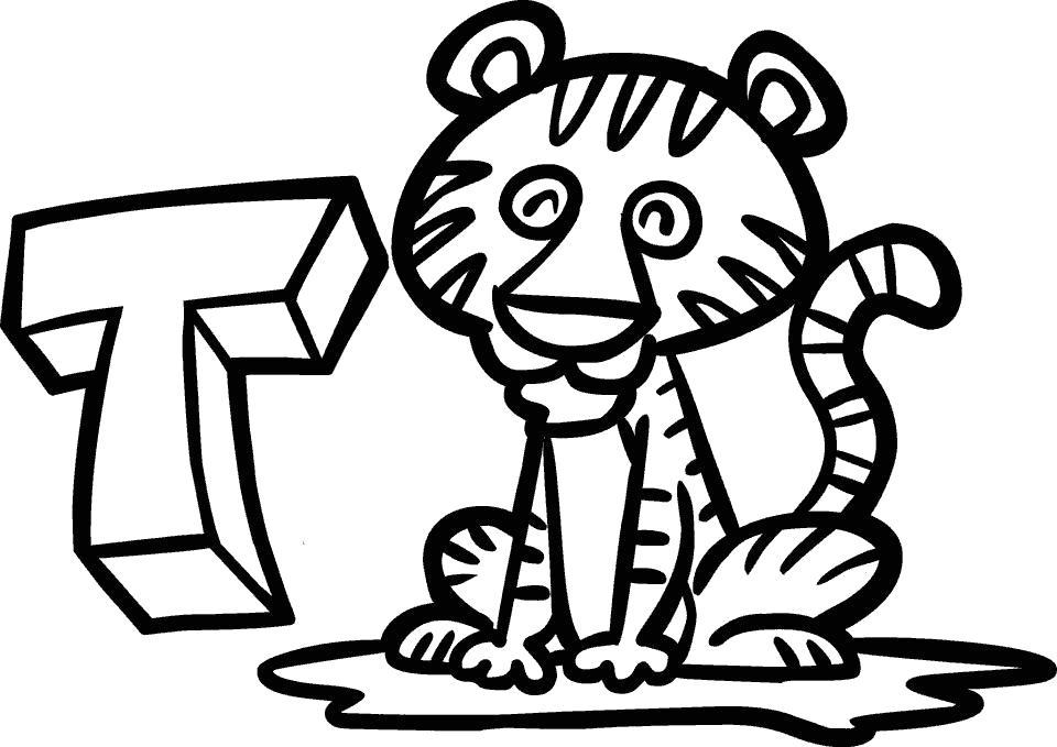 Раскраска тигр буква т. Изучаем Алфавит. Скачать Тигр.  Распечатать Дикие животные
