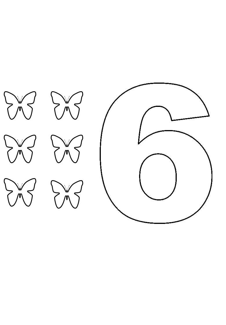 Раскраска цифра шесть. учим цифры. Скачать Бабочки.  Распечатать Бабочки