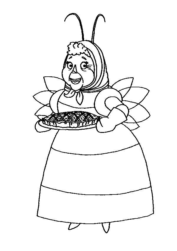 Раскраска Баба Капа с вкусностями. Скачать Лунтик.  Распечатать Лунтик