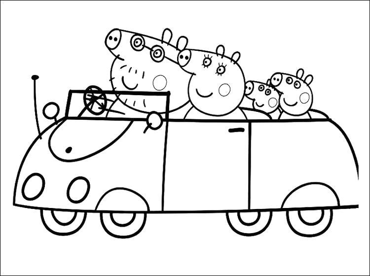 Раскраска Семейство свинки Пеппы едет на машине. Скачать Пеппа.  Распечатать Пеппа