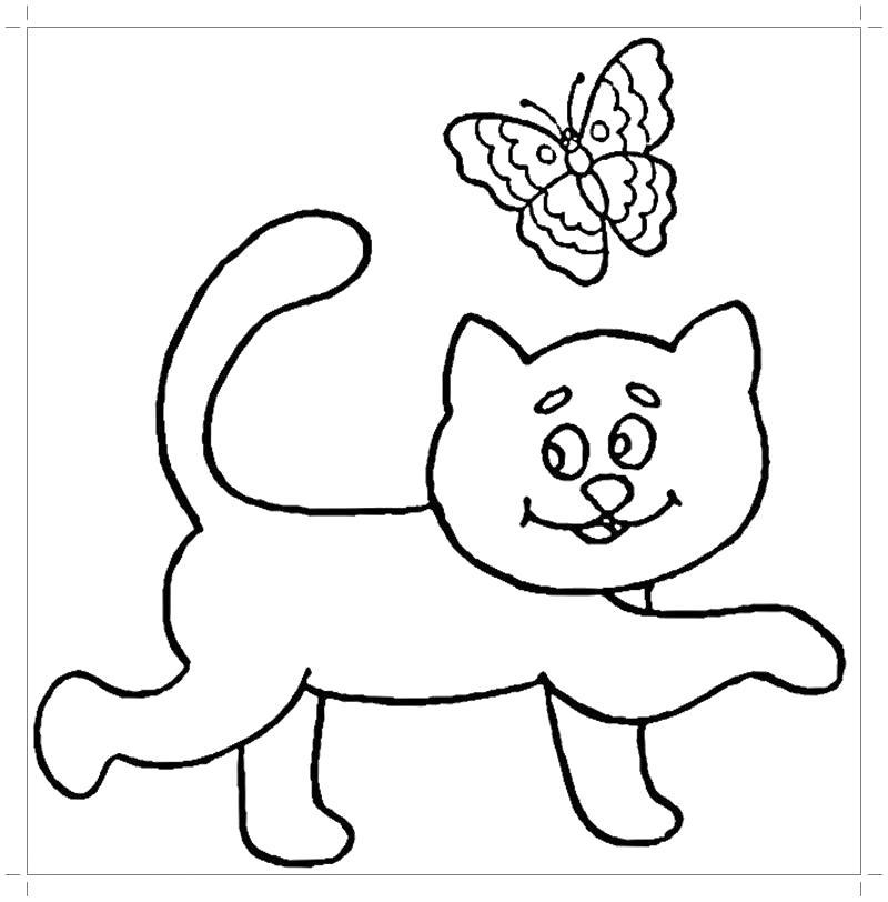 Раскраска  котята . Скачать Котенок.  Распечатать Домашние животные