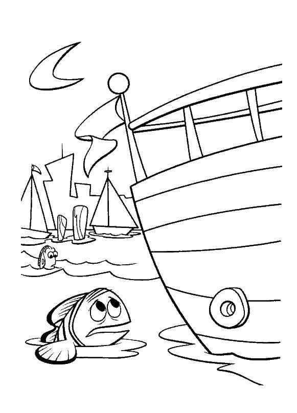 Раскраска немо около лодки. Скачать в поисках Немо.  Распечатать в поисках Немо