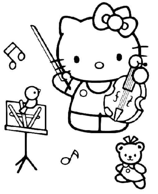 Раскраска Китти и скрипка. Скачать Скрипка.  Распечатать Скрипка