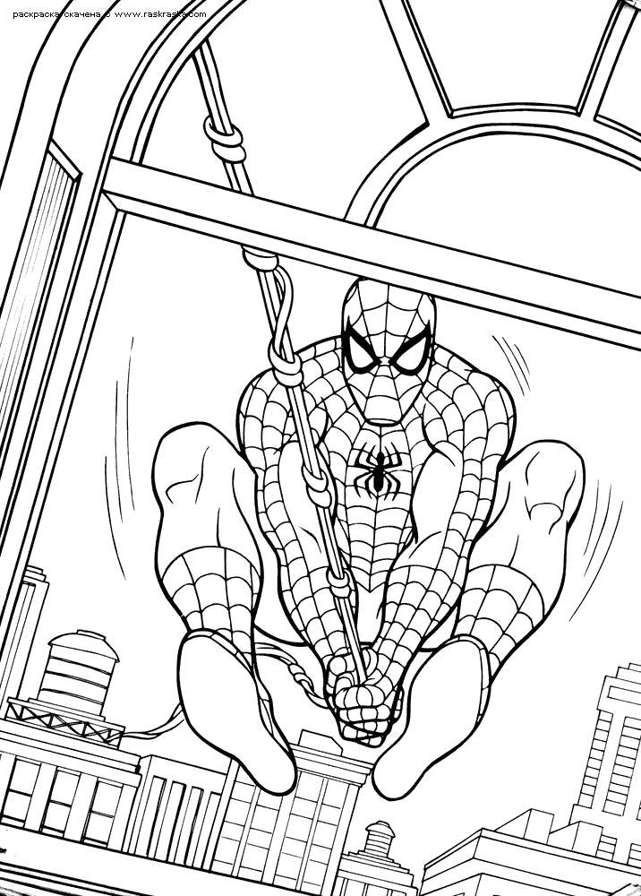 Раскраска Человек паук. Скачать .  Распечатать
