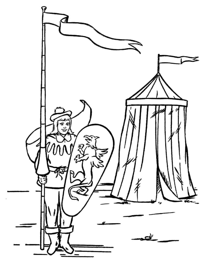 Раскраска Рыцарь в средневековье. Скачать рыцари.  Распечатать рыцари