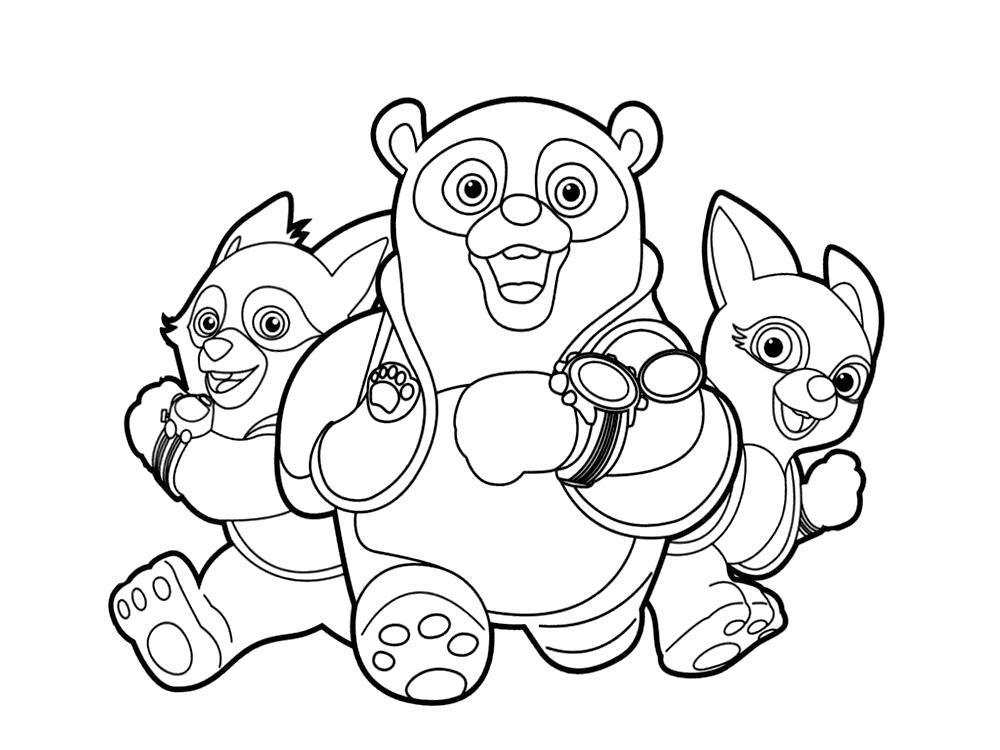 Раскраска Осо со своими друзьями агентами Вулфи и Дотти. Скачать .  Распечатать