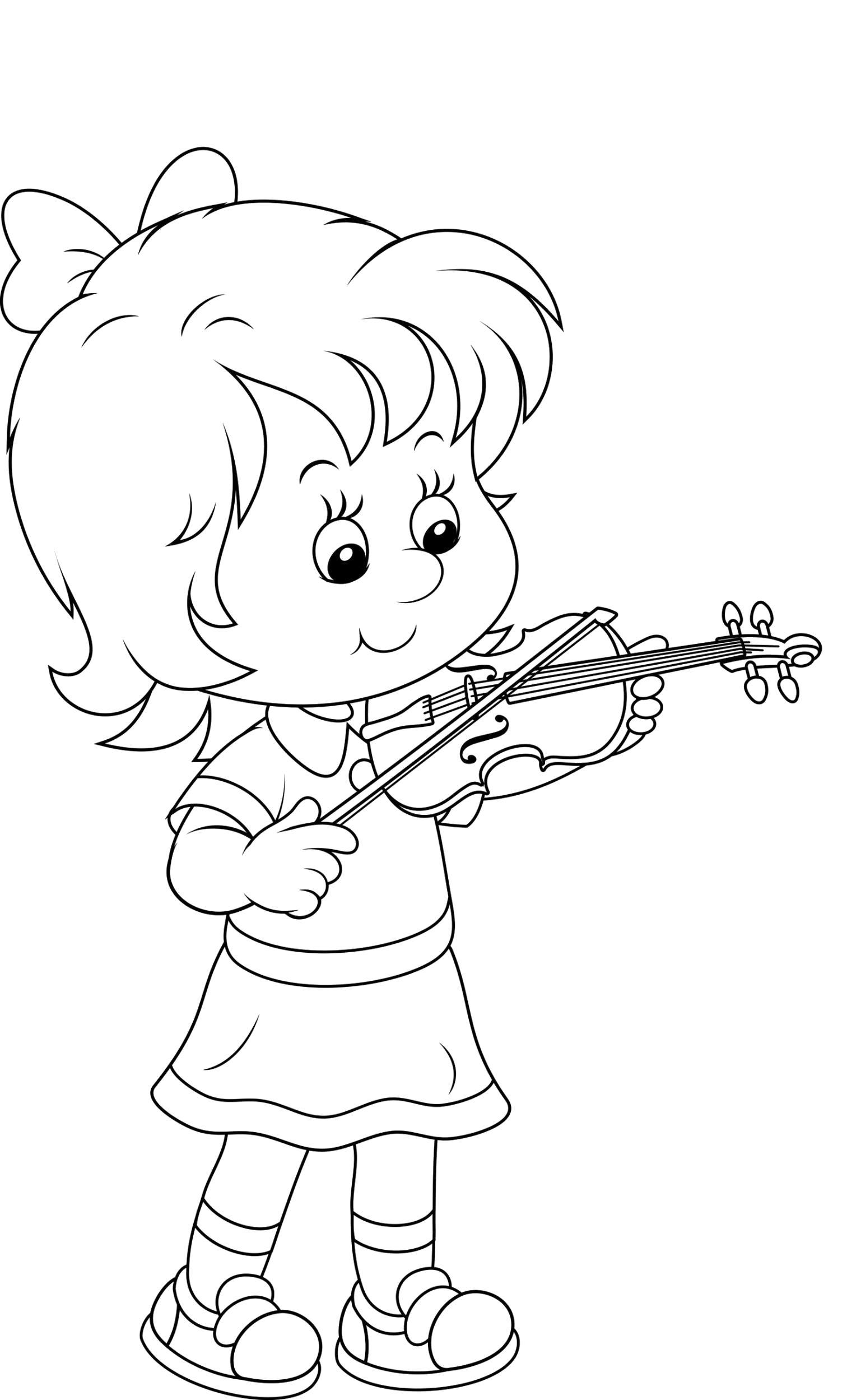 Раскраска Маленькая девочка играет на скрипке. Скачать 1 сентября.  Распечатать 1 сентября