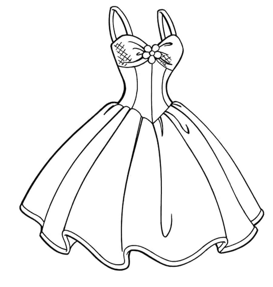 Раскраска . Скачать платье.  Распечатать платье