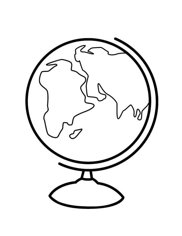 Раскраска Глобус. Скачать 1 сентября.  Распечатать 1 сентября
