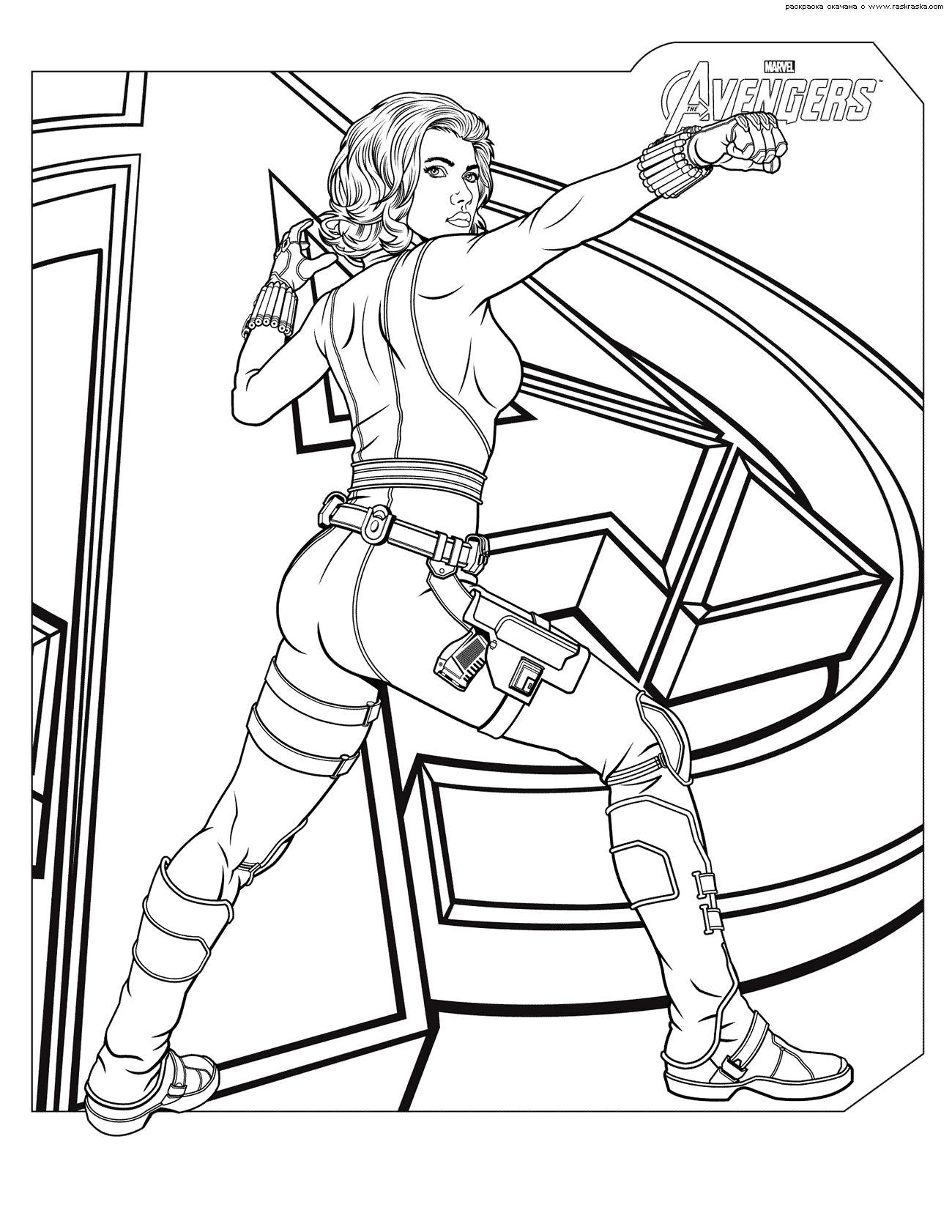Раскраска Раскраск Черная вдова. Скачать Мстители.  Распечатать Мстители