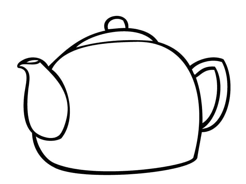 Раскраска Чайник. Скачать посуда.  Распечатать посуда