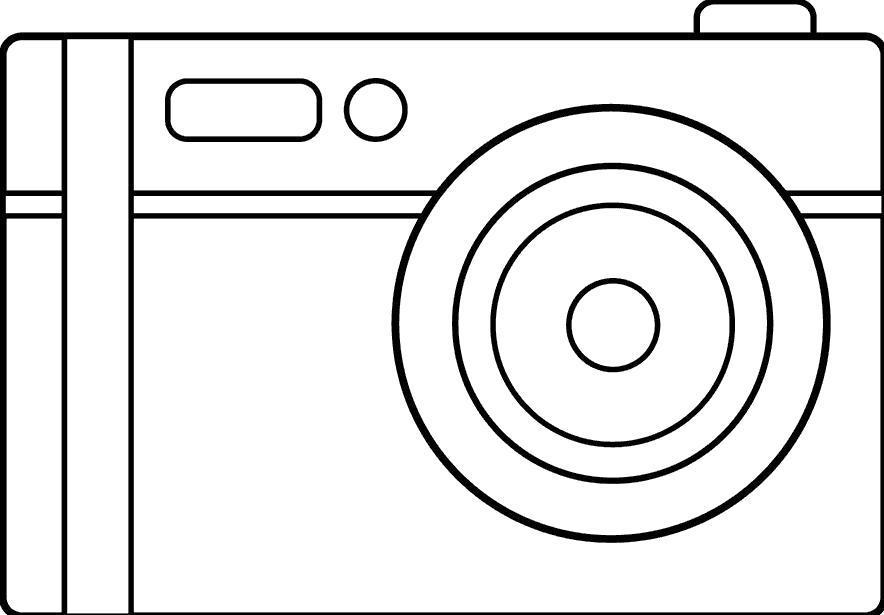 Раскраска Современный фотоаппарат . Скачать .  Распечатать