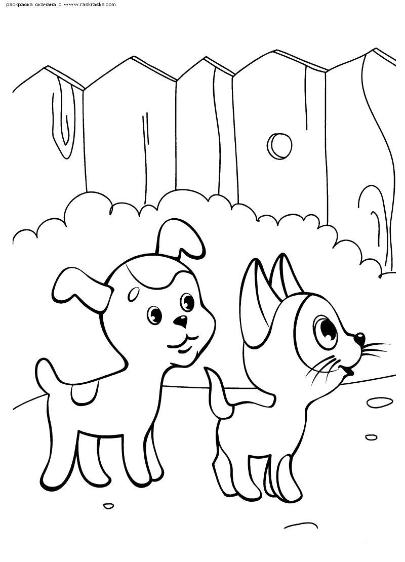Раскраска  Гав и Шарик. Скачать Котенок, Щенок.  Распечатать Домашние животные