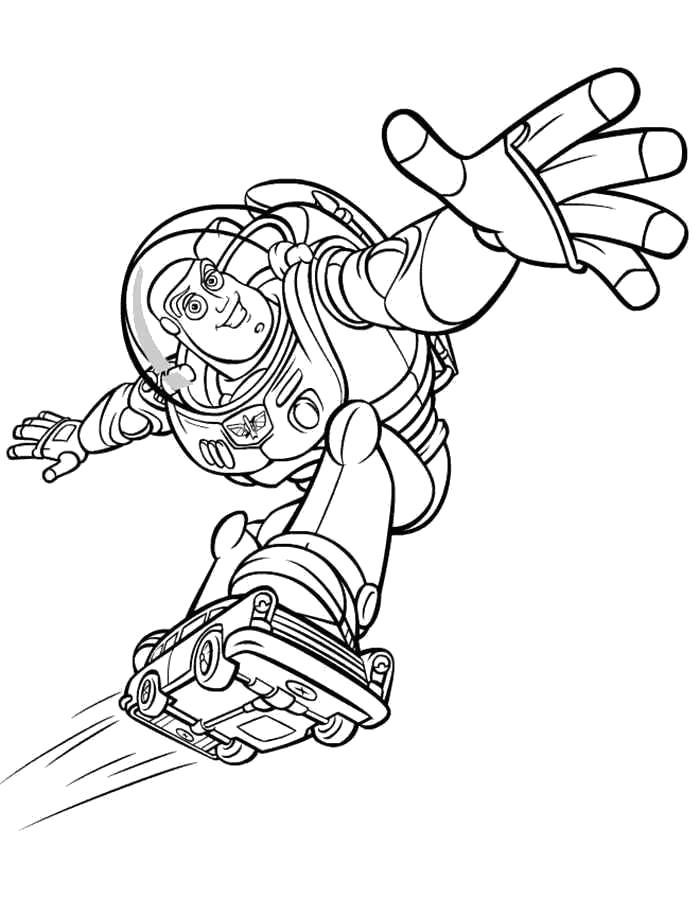 Раскраска Базз летит. Скачать .  Распечатать