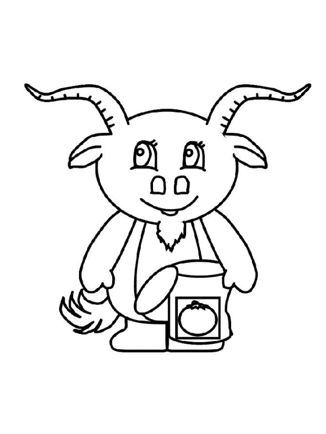 Раскраска Разукрашка козлик. Скачать Коза.  Распечатать Домашние животные
