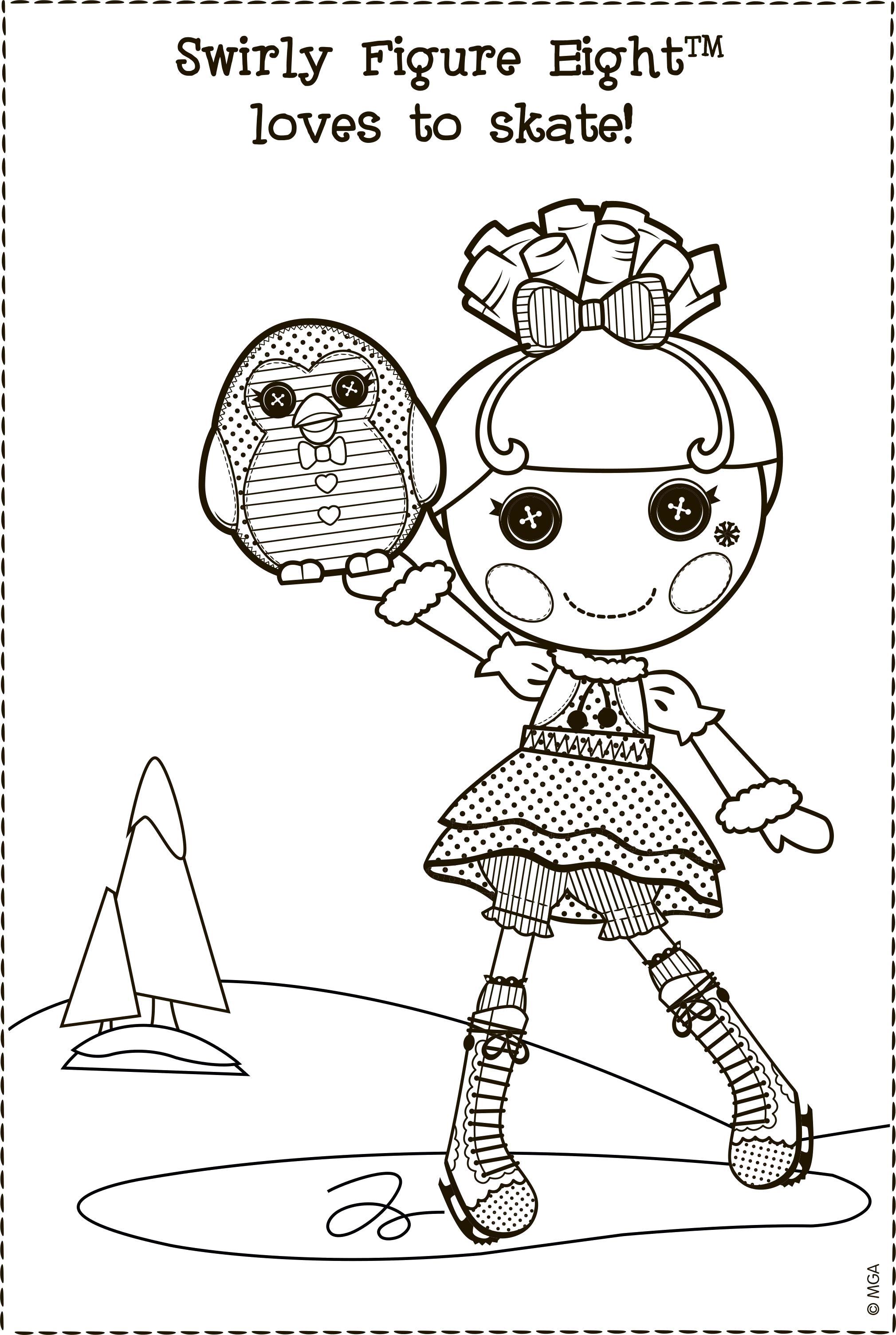 Раскраска Лалалупси на коньках. Скачать лалалупси.  Распечатать лалалупси
