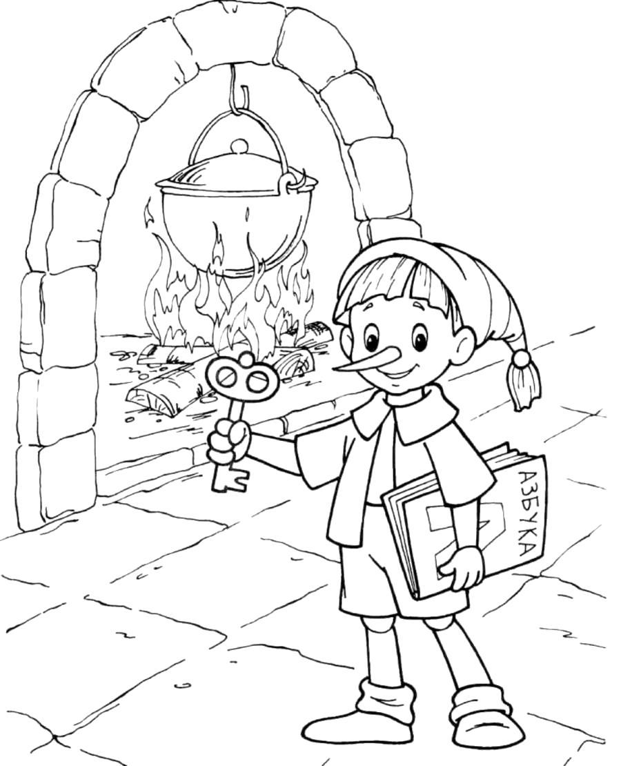 Раскраска Буратино с букварем возле котла, Буратино с золотым ключиком. Скачать буратино.  Распечатать буратино