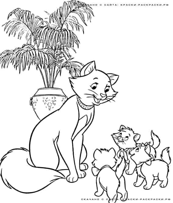 Раскраска  - Кошка и котята. Скачать кошка, Котенок.  Распечатать Домашние животные