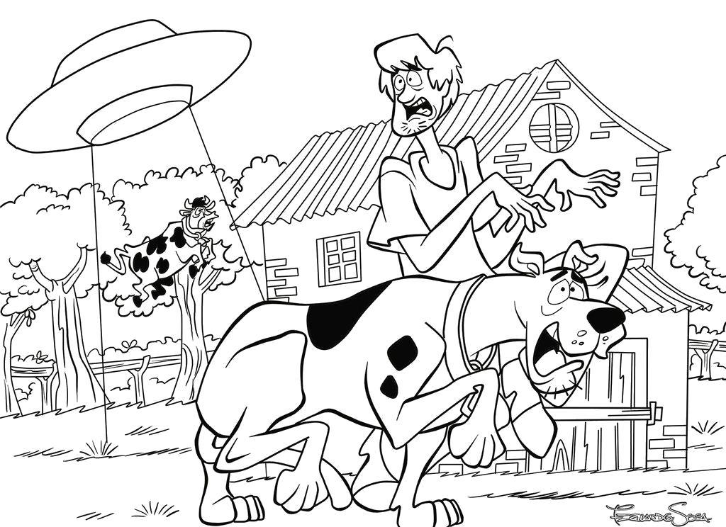Раскраска Скуби Ду и похитители коров. Скачать Скуби ду.  Распечатать Скуби ду