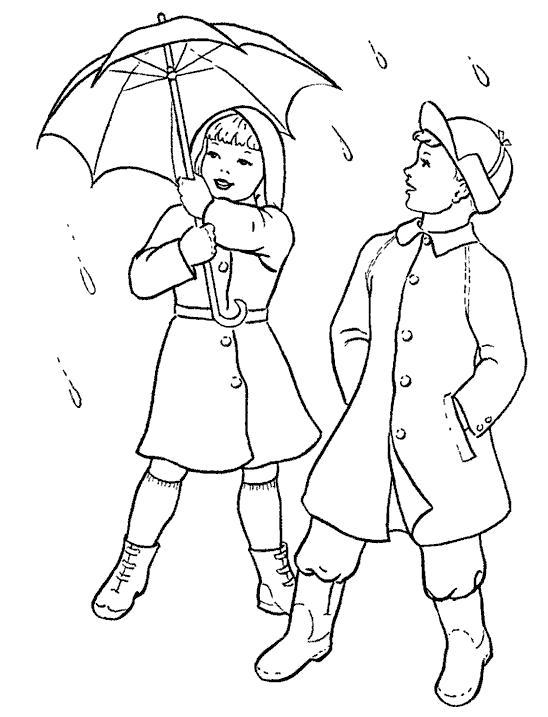 Раскраска Зонт на двоих. Скачать дождь.  Распечатать дождь