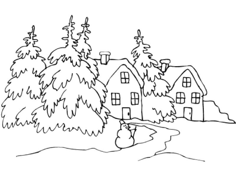 """Раскраска  """"деревья зимой для детей""""  деревья рядом с домами. Скачать деревья.  Распечатать деревья"""