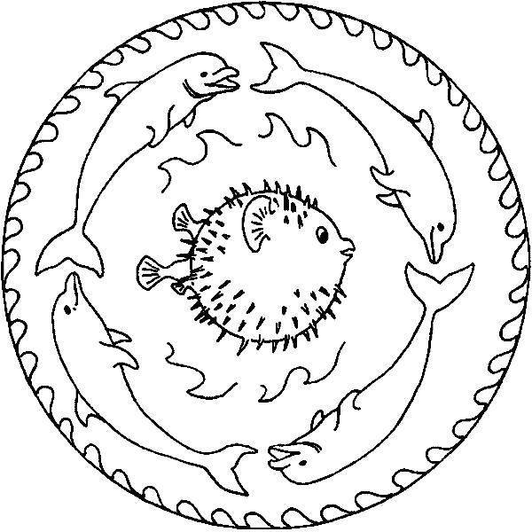 Раскраска Рыбки. Скачать Мандалы.  Распечатать Мандалы