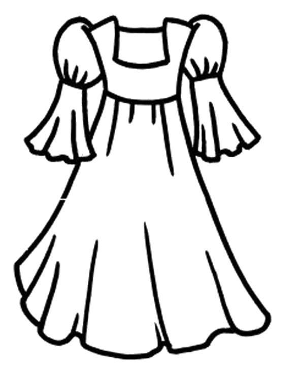 Раскраска Платьице. Скачать платье.  Распечатать платье