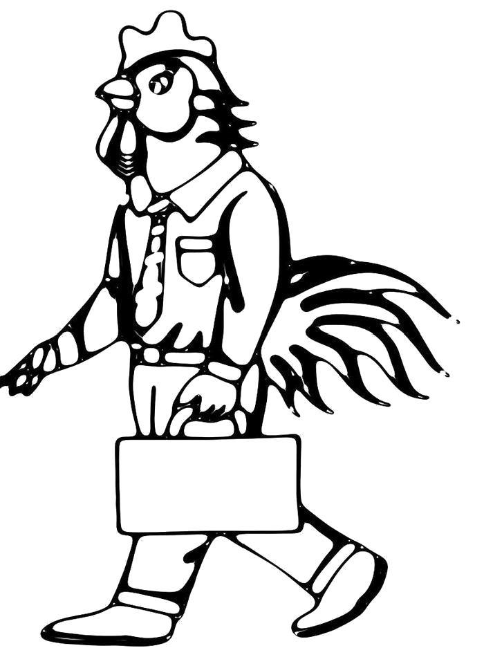 Раскраска  Петух с портфелем. Скачать Петух.  Распечатать Домашние животные