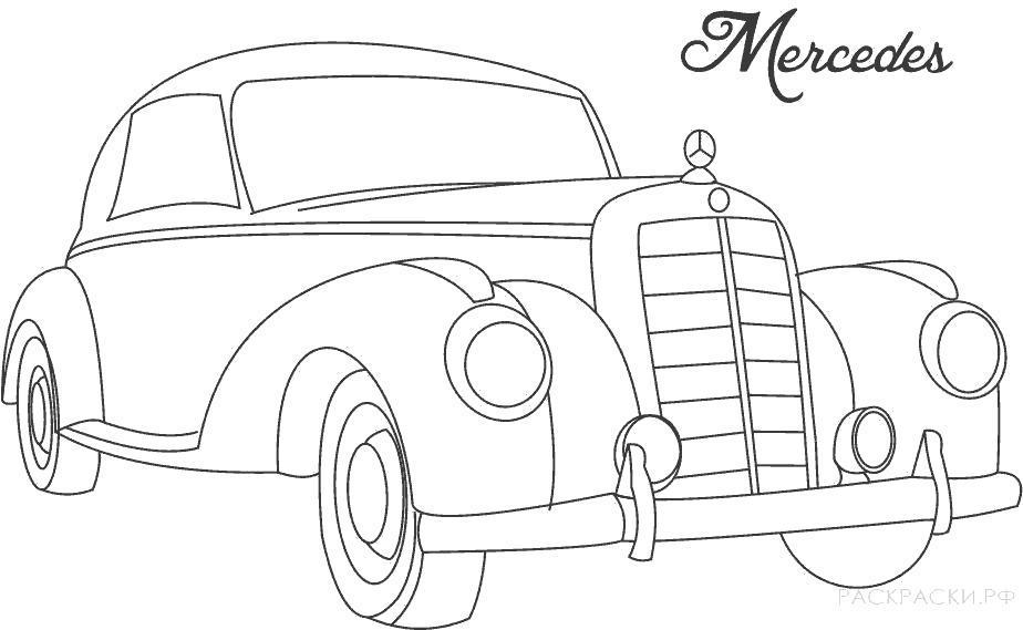 Раскраска  старая машина Мерседес. Скачать Машина.  Распечатать Машина
