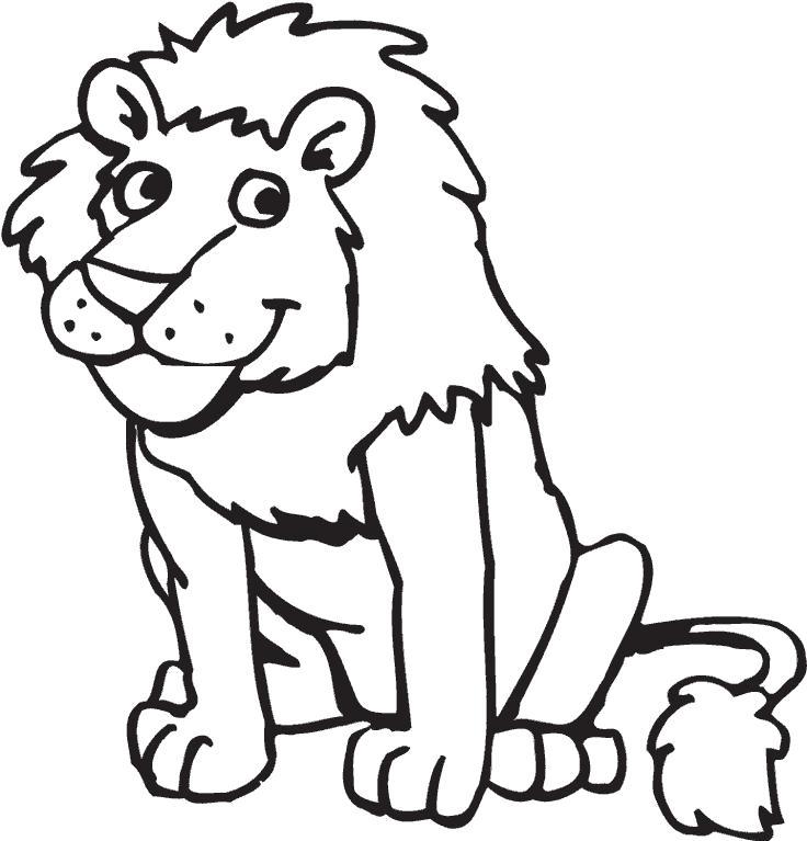 Раскраска улыбающийся львенок. Скачать .  Распечатать