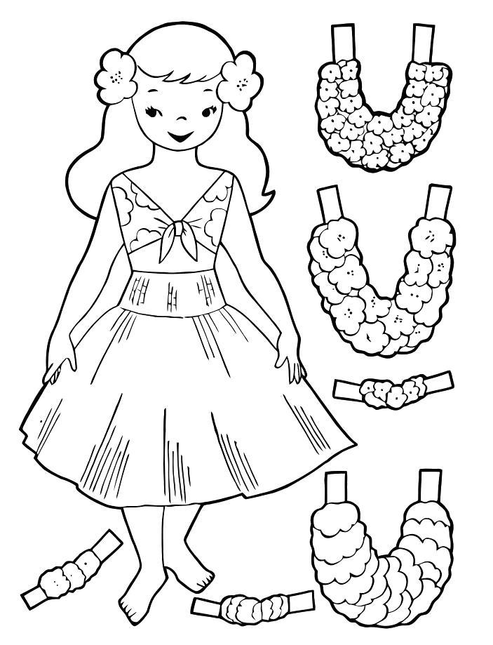Раскраска бусы для куклы из картона. Скачать платье.  Распечатать платье