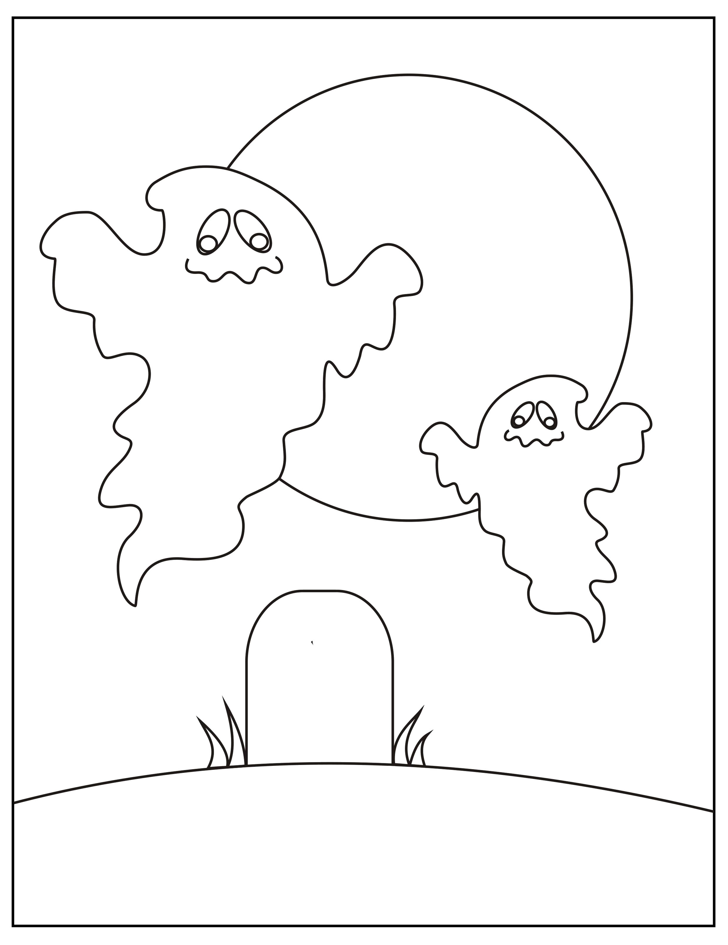 Раскраска Привидения. Скачать приведение.  Распечатать Хэллоуин
