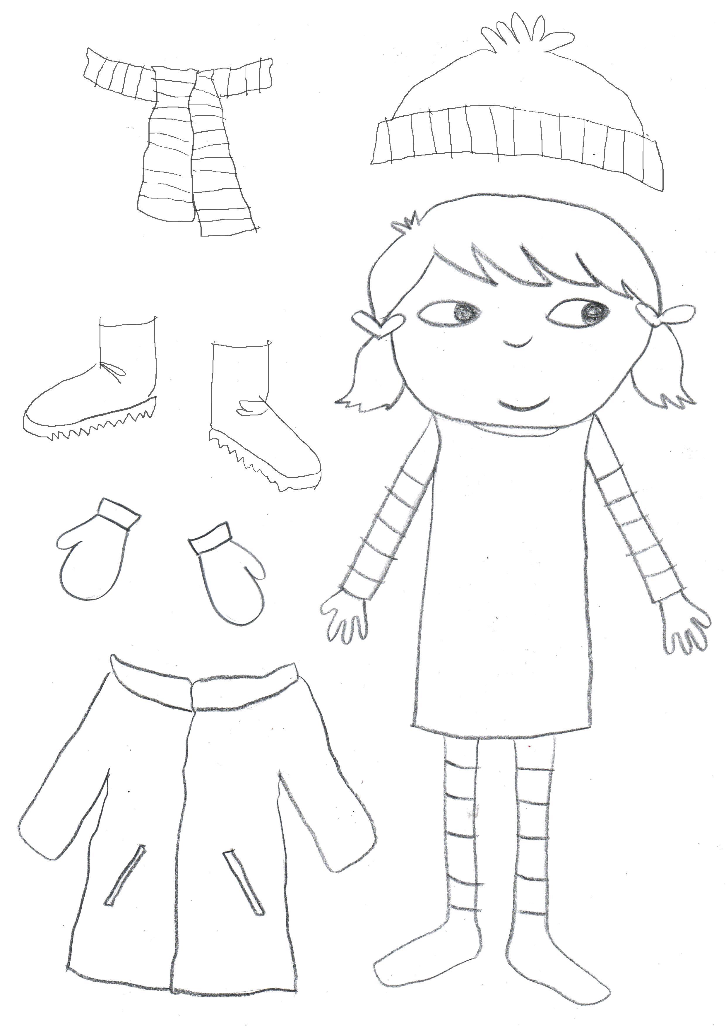 Раскраска  одежда для девочки. Скачать Зимняя одежда.  Распечатать Зимняя одежда