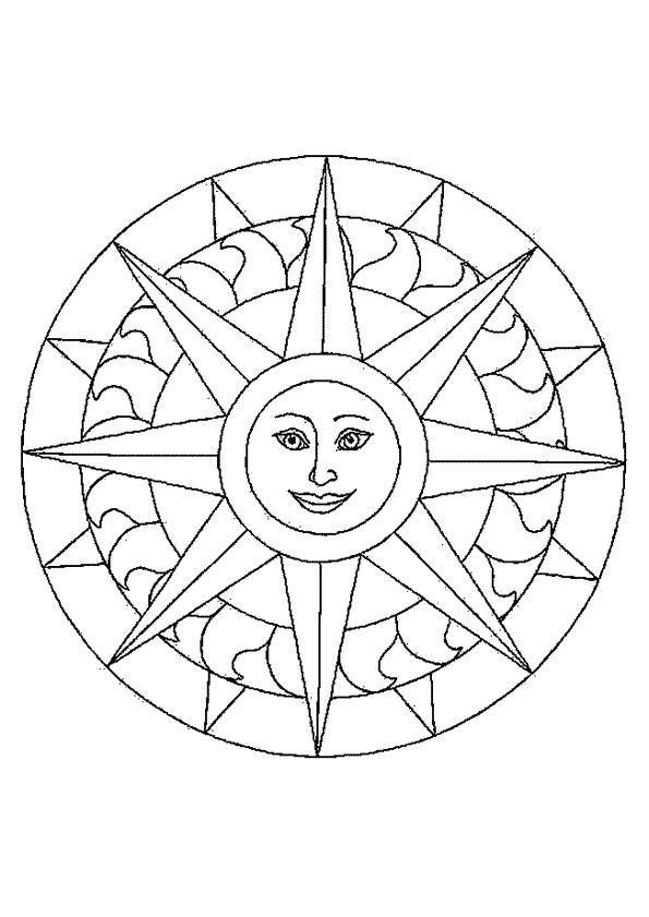 Раскраска Солнце. Скачать Мандалы.  Распечатать Мандалы