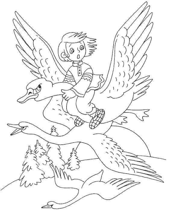 Раскраска   к сказке гуси лебеди гуси похищают брата, сказка гуси-лебеди,  . Скачать гуси лебеди.  Распечатать сказки