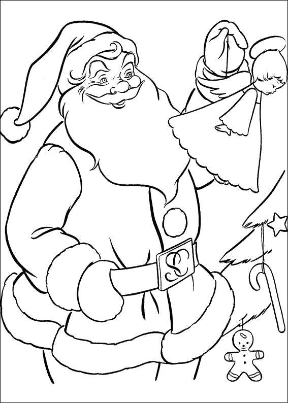 Раскраска Новогодние  для детей, санта украшает ель. Скачать новогодние.  Распечатать новогодние