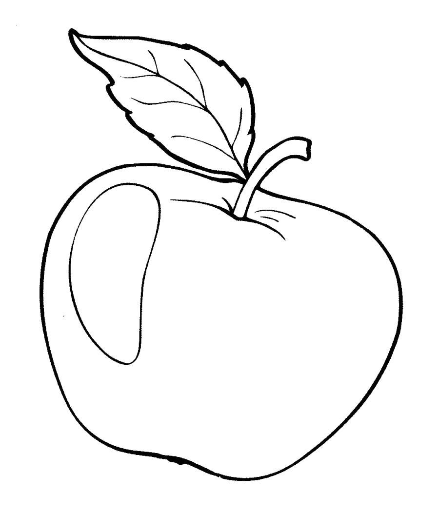 Раскраска Блестящее яблоко . Скачать яблоко.  Распечатать Фрукты