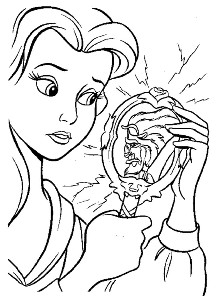 Раскраска Белль смотрит в волшебное зеркало . Скачать .  Распечатать