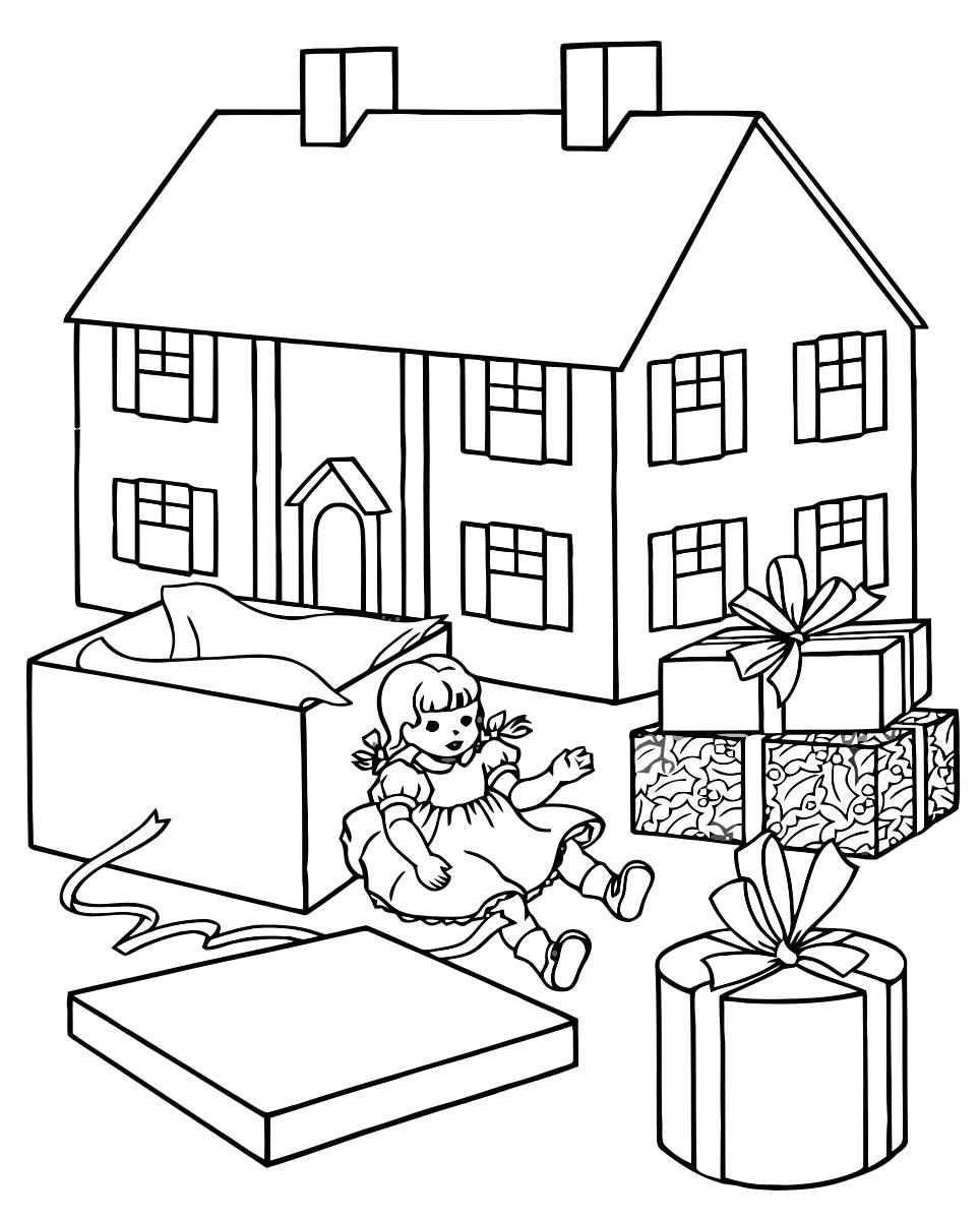 Раскраска Кукла и её домик. Скачать .  Распечатать
