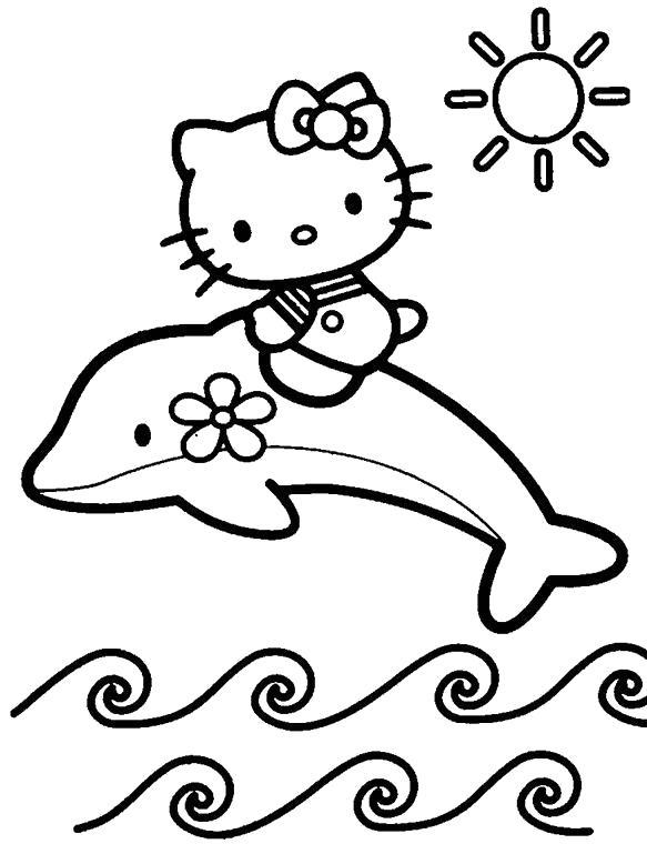 Раскраска китти на дельфине. Скачать Дельфин.  Распечатать Морские животные