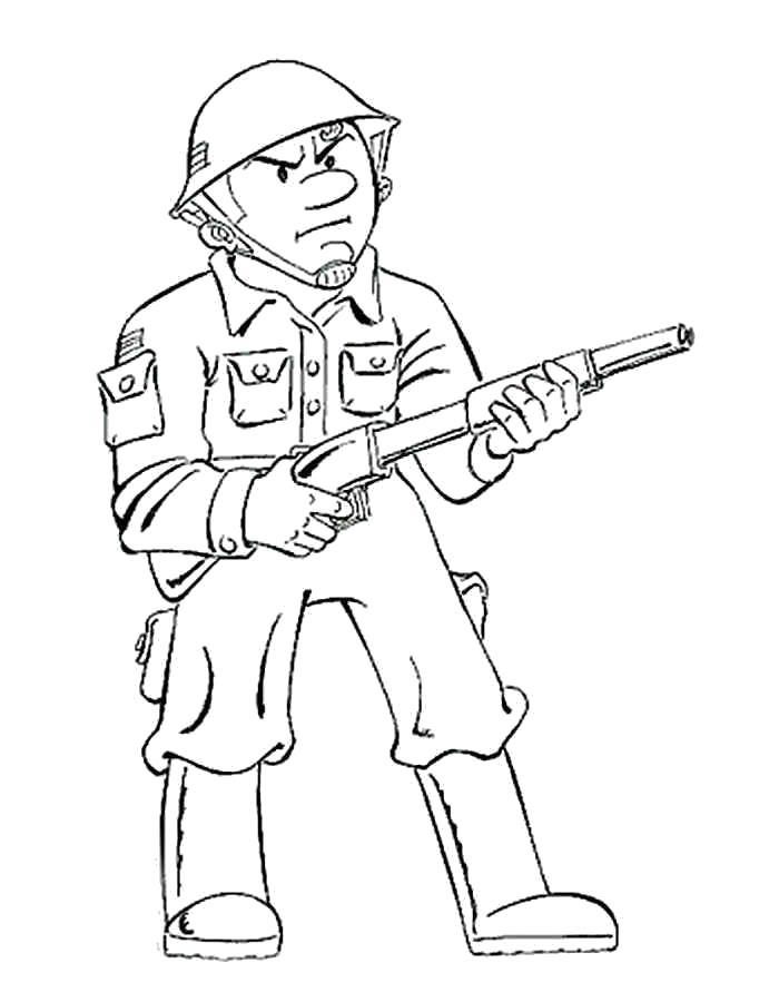 Раскраска Грозный солдат. Скачать Солдат.  Распечатать Солдат
