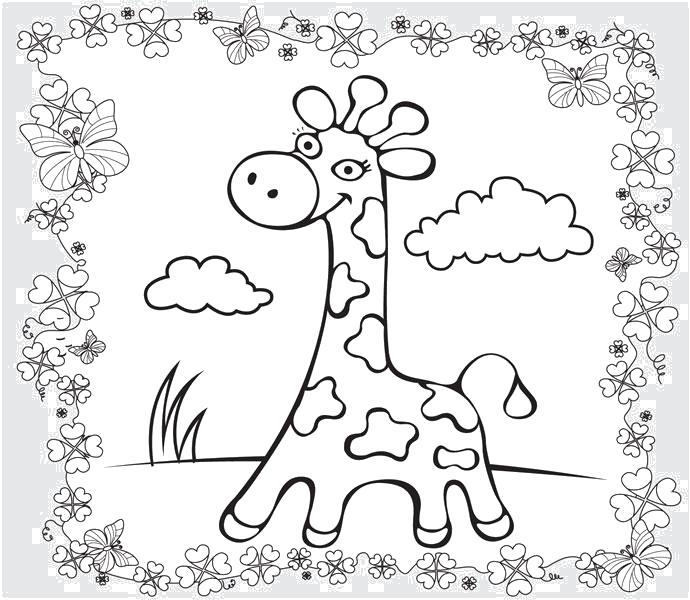 Раскраска Красивая детская  жирафка. Скачать жираф.  Распечатать Дикие животные