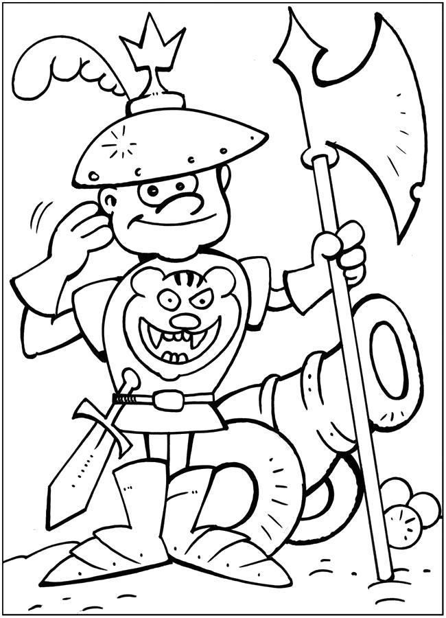 Раскраска Смешной рыцарь. Скачать .  Распечатать