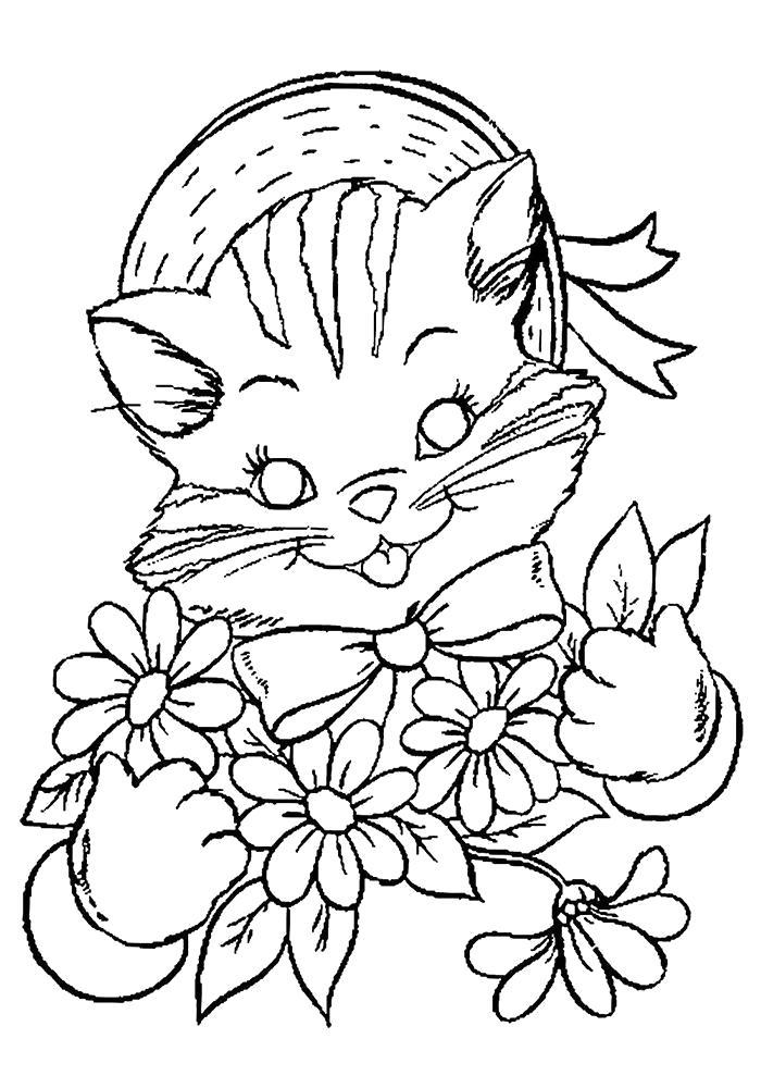 Раскраска  котята и щенки милые и красивые. Скачать кошка, Котенок.  Распечатать Домашние животные