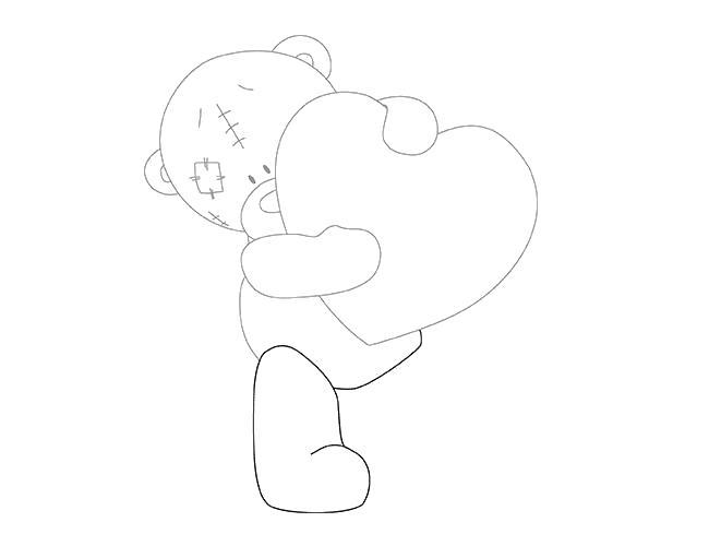 Раскраска мишка держити сердечко. Скачать сердечко.  Распечатать сердечко