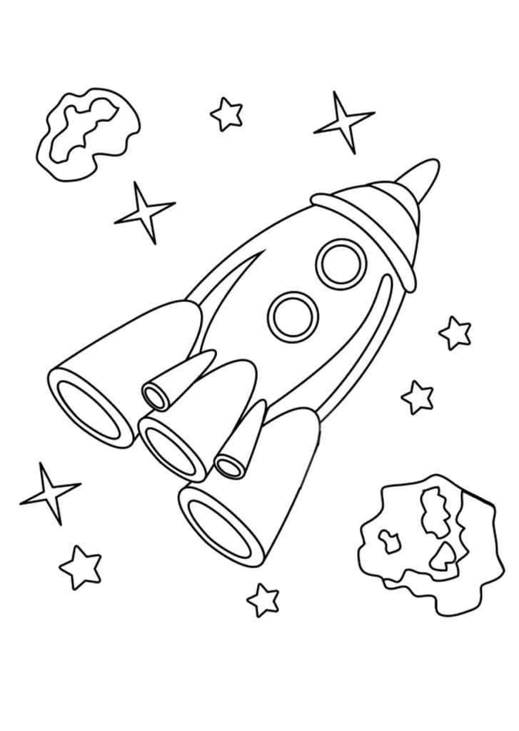 Раскраска Ракета в космосе среди метеоритов. Скачать Ракета.  Распечатать Ракета