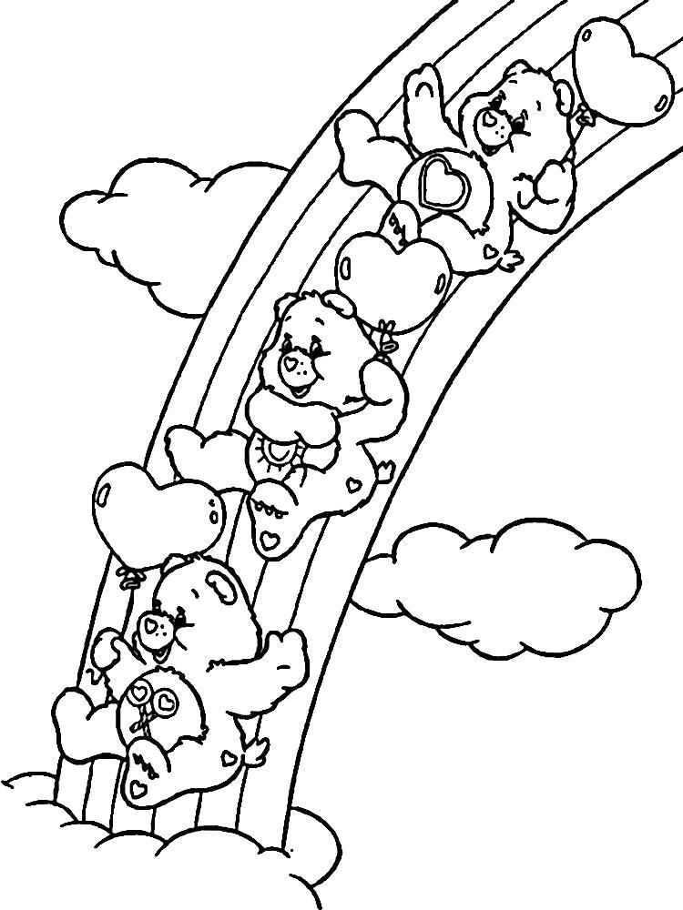 Раскраска Мишки Гамми катаются на радуге. Скачать .  Распечатать