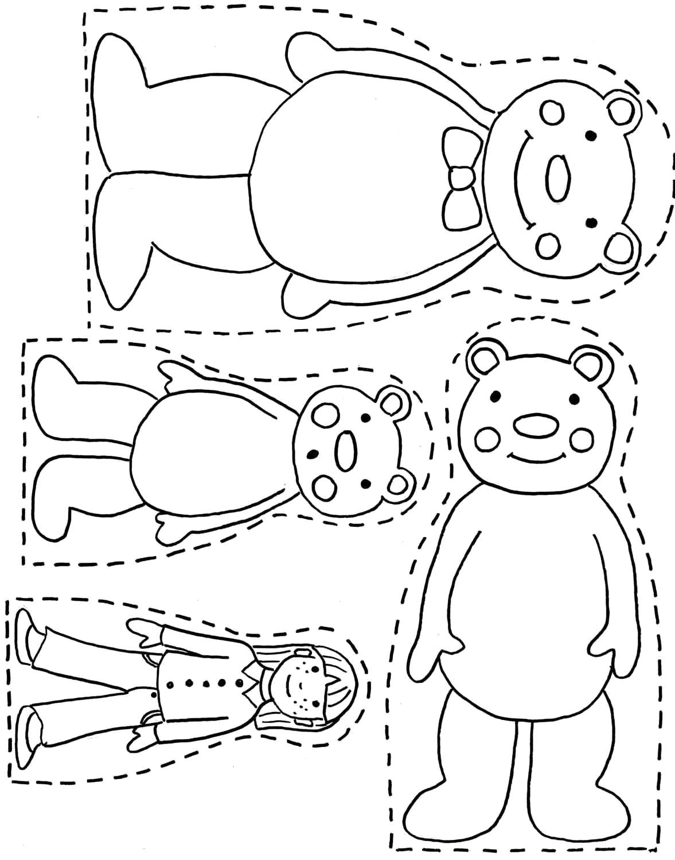 Раскраска Маша и медведи. Скачать три медведя.  Распечатать три медведя