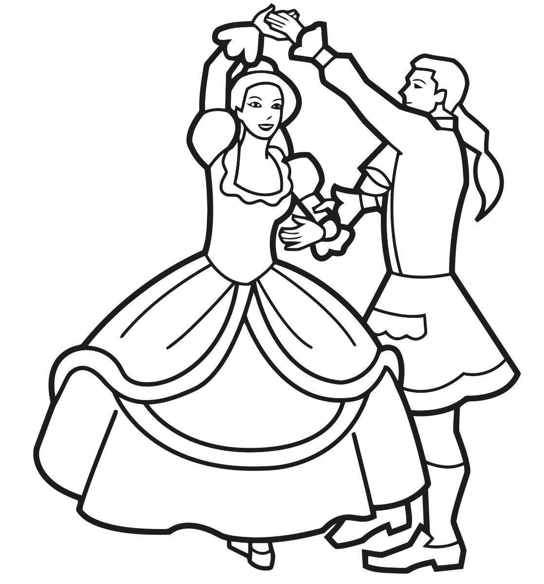 Раскраска Средневековые танцы. Скачать .  Распечатать
