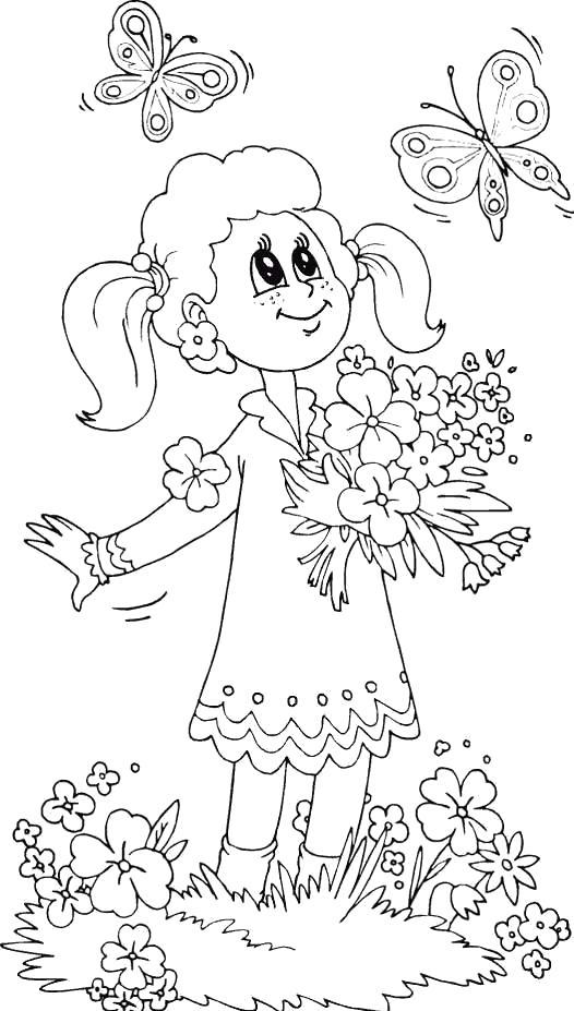 Раскраска Девочка с цветами. Над цветами летают бабочки. Скачать Бабочки.  Распечатать Насекомые